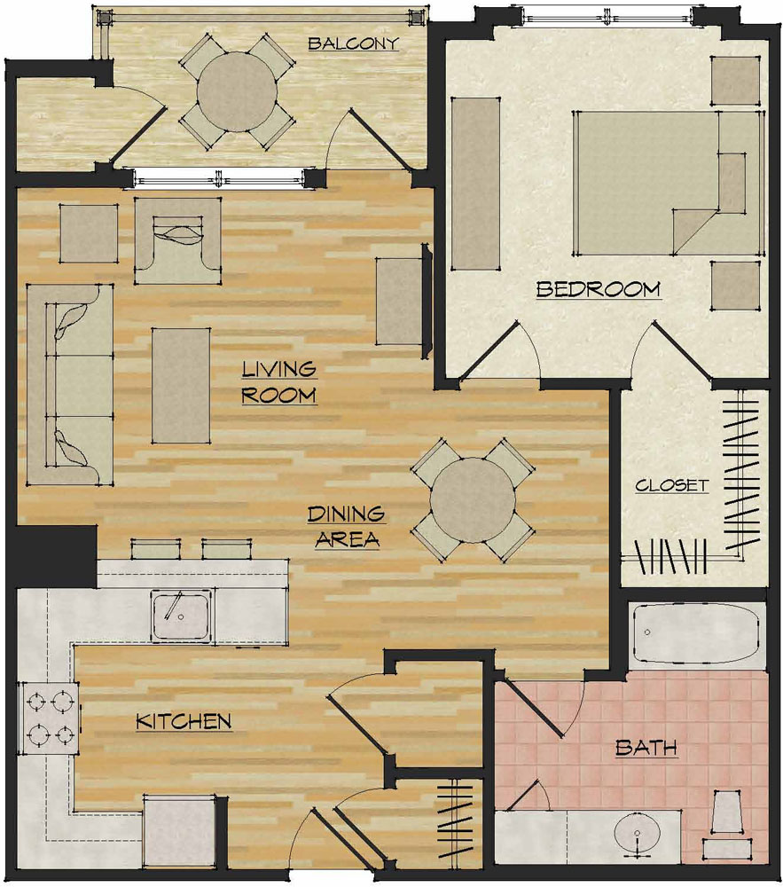 1 bedroom apartments flats 520 north haven ct for Floor plan apartment