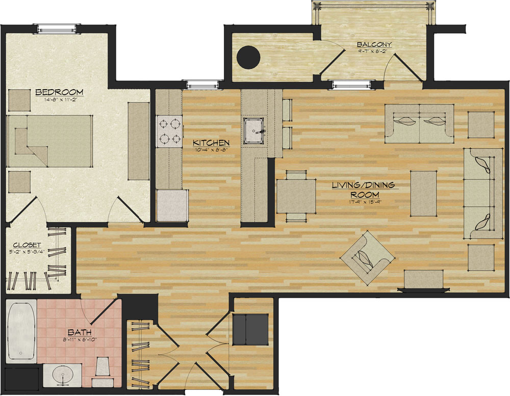 1 bedroom apartments flats 520 north haven ct for Apartment floor plan