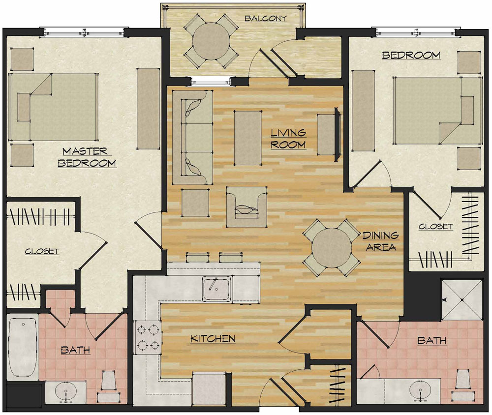 2 bedroom apartments flats 520 north haven ct for Floor plan 2 bedroom