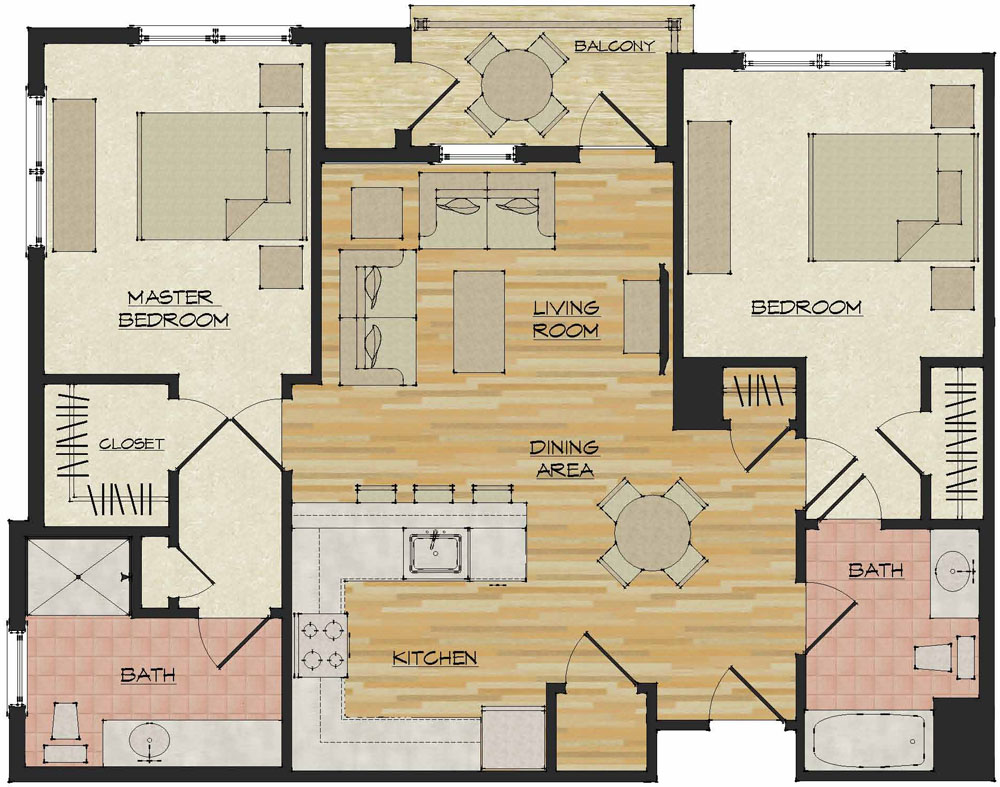 2 bedroom apartments flats 520 north haven ct for Floor plan apartment