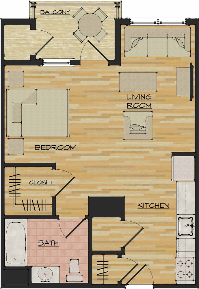 Studio apartments flats 520 north haven ct apartments for Floorplan com