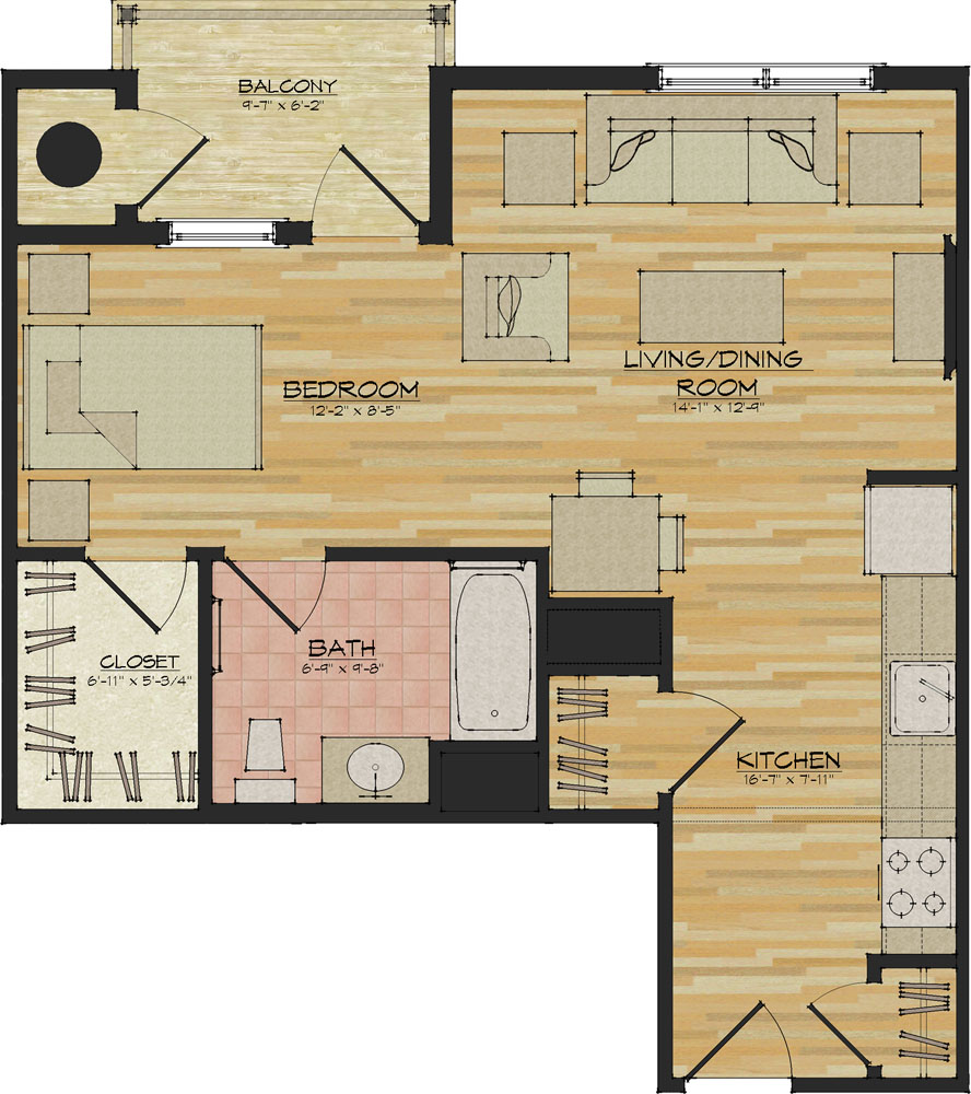 Efficiency apartment floor plans home design for Efficiency apartment floor plans